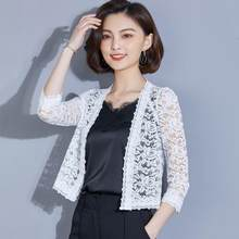 2019 Women Lace Plus Size Wrap Coat Hollow Out Three Quarter leeve Small Shawl Cardigan office beach tops AE399(China)