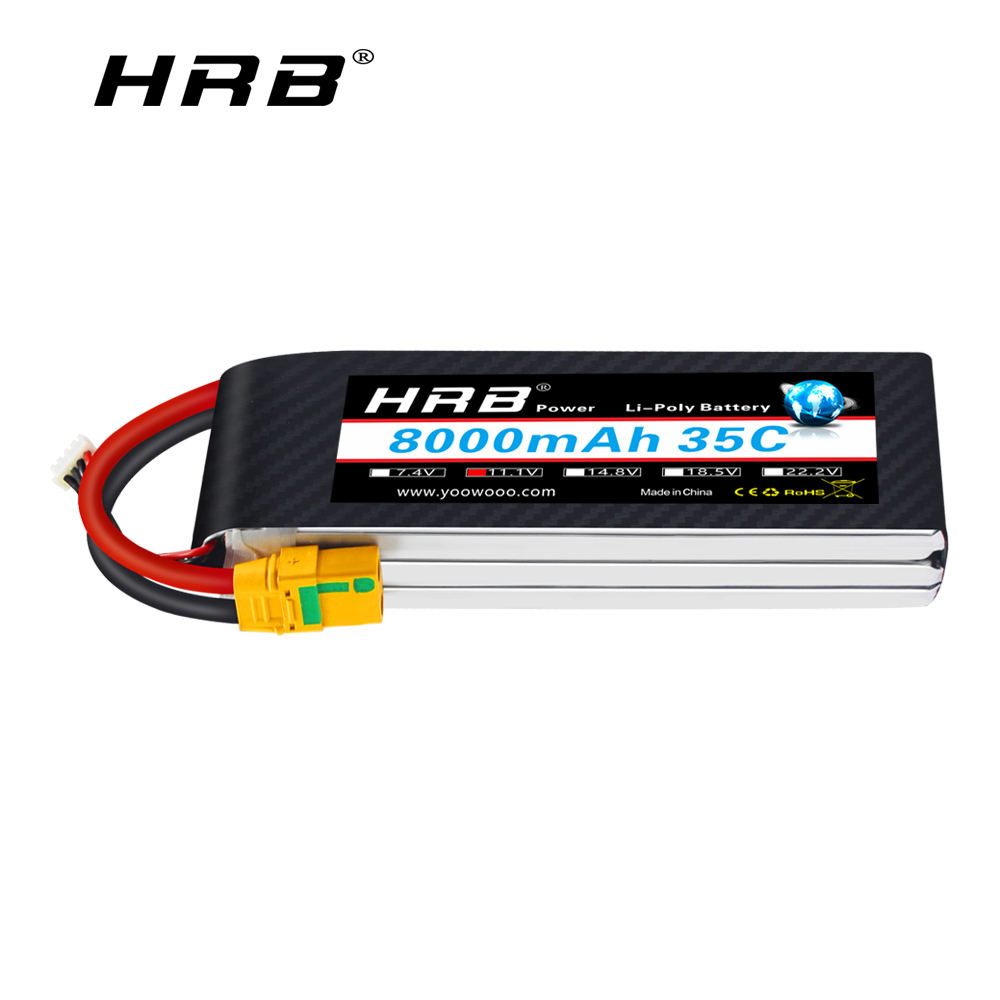 HRB <font><b>3S</b></font> <font><b>Lipo</b></font> Battery 11.1V <font><b>8000mah</b></font> 35C XT60 T Deans AS150 Connector for RC Quadcopter Airplanes Cars Boat drones image