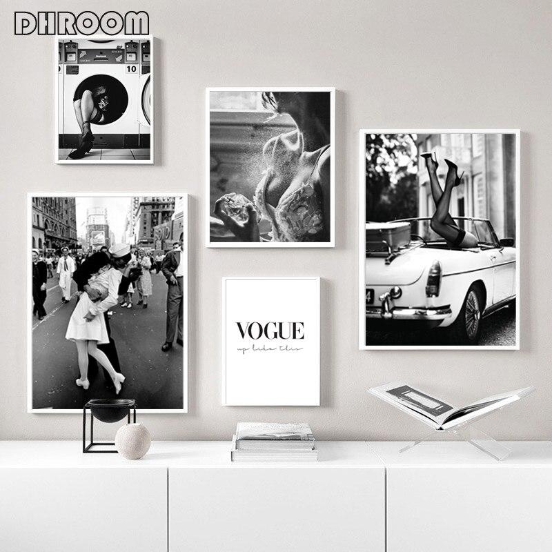 Модный постер, настенная Художественная печать, черно белая холщовая живопись, духи, женские фотографии для гостиной, винтажный Модный домашний декор|Рисование и каллиграфия|   | АлиЭкспресс