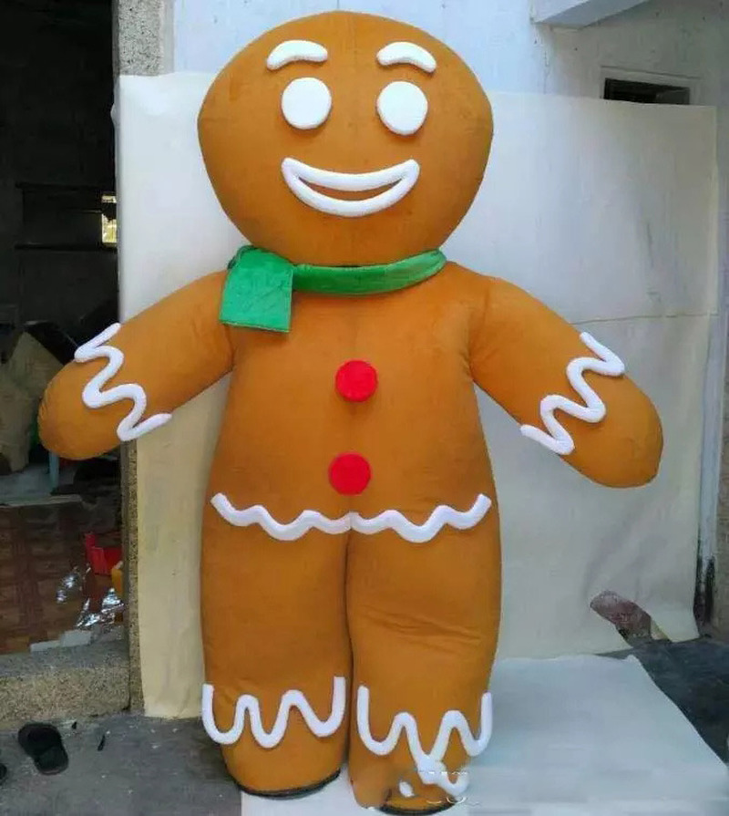 Costume de mascotte d'homme de pain d'épice heureux de vente directe d'usine pour l'adulte à porter à vendre