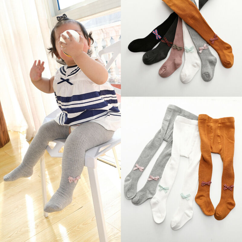 Baby Girls Kids Tights Pantyhose Bow Knitted Autumn Winter Warm Party School Stockings Children New Fashion