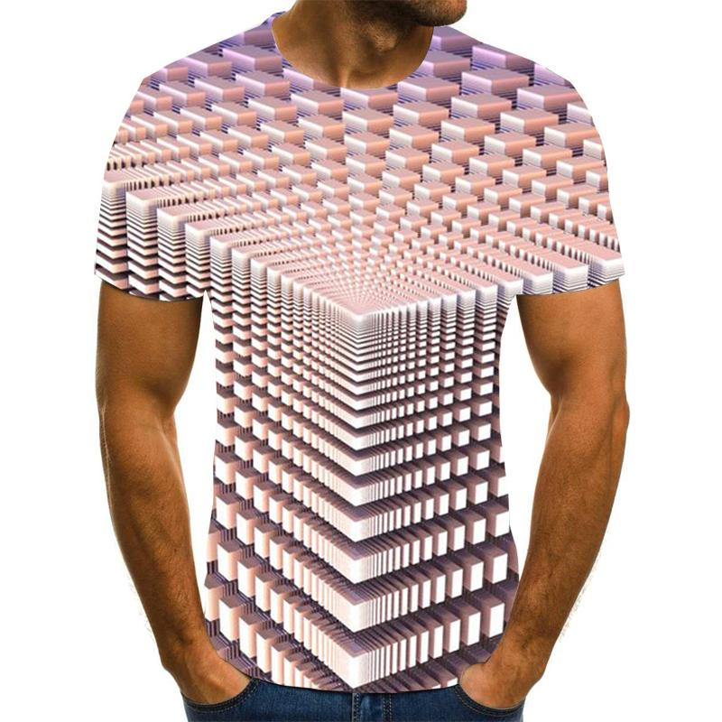 Vórtice tridimensional para homem, estampada 3d de verano com cuello redondo, casual divertida diaria