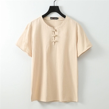 Tees Sleep-Tops Home-Wear Cotton Linen Short 66 68 Chinese-Style Large-Size Summer 70