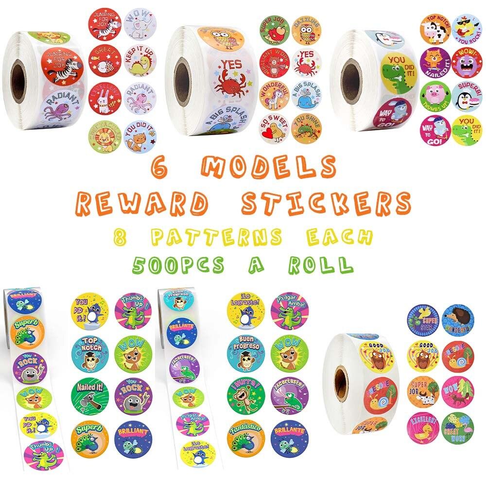 500 шт./рулон милые наклейки в виде животных с надписью, мотивационные наклейки для школьника, школьника, канцелярские наклейки для детей