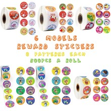 500 Pcs/roll Cute Animals Reward Stickers with Word Motivational for School Teacher Student Stationery Kids