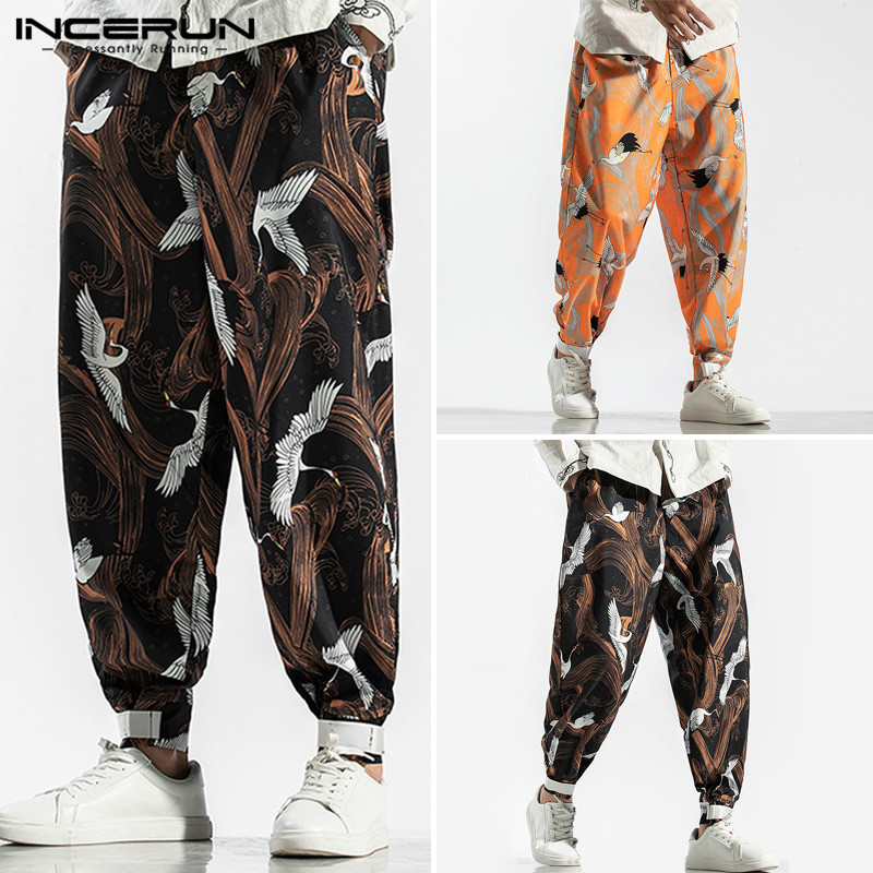 INCERUN Men Retro Fashion Crane Print Harem Pants Baggy Mens Casual Trousers Hip-hop Joggers Street Stretch Elastic Sweatpants