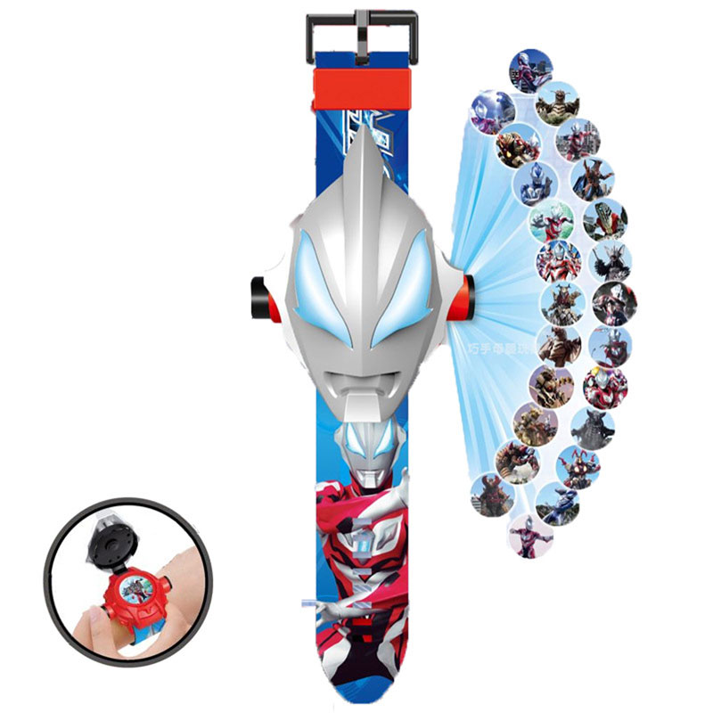 Hfaa0750f74f24aaf9ace036239db20e9o - The 3 D Projection Children Watch Cartoon Ultraman Spiderman Ironman Princess Digital Watches Kids Watches Toy