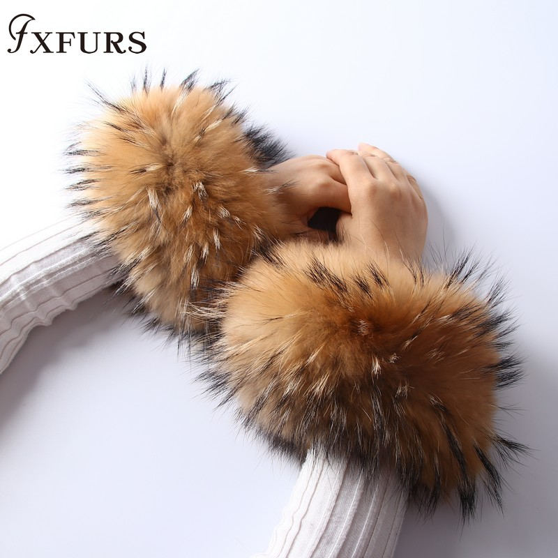 2019 Real Women Genuine Fox Fur Cuffs Hand Wear Raccoon Fur Cuff Lady Bracelet Wristband Arm Warmer Decoration Bracelet  Sleeve