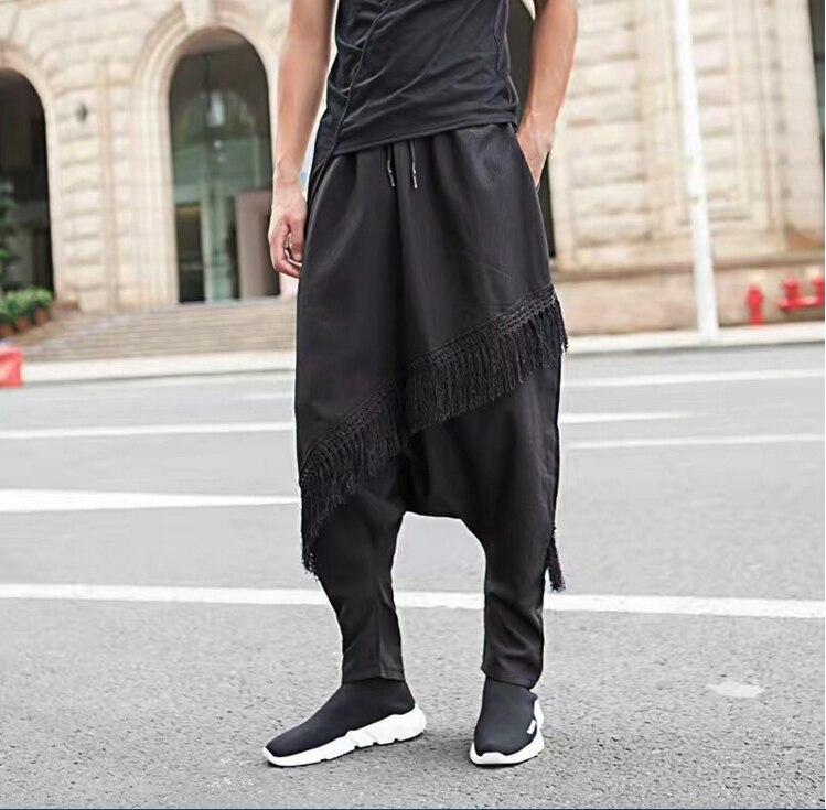 Men Japanese Samurai Harem Hakama Tassel Pants Trousers Loose Hip Hops Cross-pants Black D46