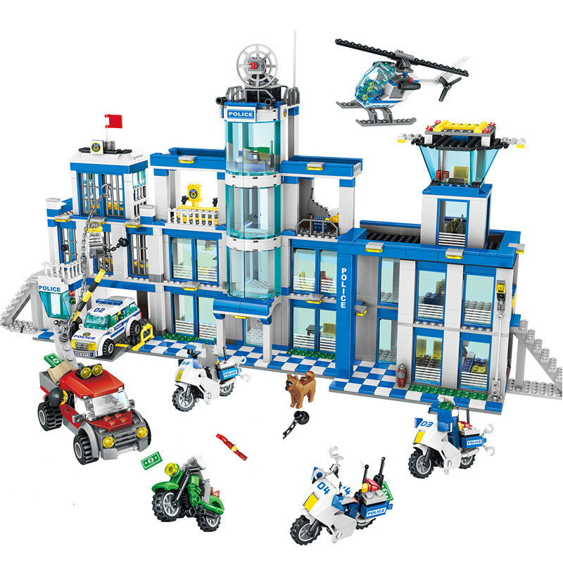 Oyuncaklar ve Hobi Ürünleri'ten Bloklar'de Uyumlu Legoe Oyuncaklar Polis Serisi Yapı Taşları seti DIY Polis Karakolu Modeli Setleri Çocuk Şehir Helikopter Cezaevi Şekil araba'da  Grup 1