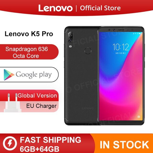 글로벌 버전 lenovo k5 pro 6 gb 64 gb snapdragon636 octa core 스마트 폰 4 개의 카메라 5.99 인치 fhd 4g lte 4050 mah 배터리