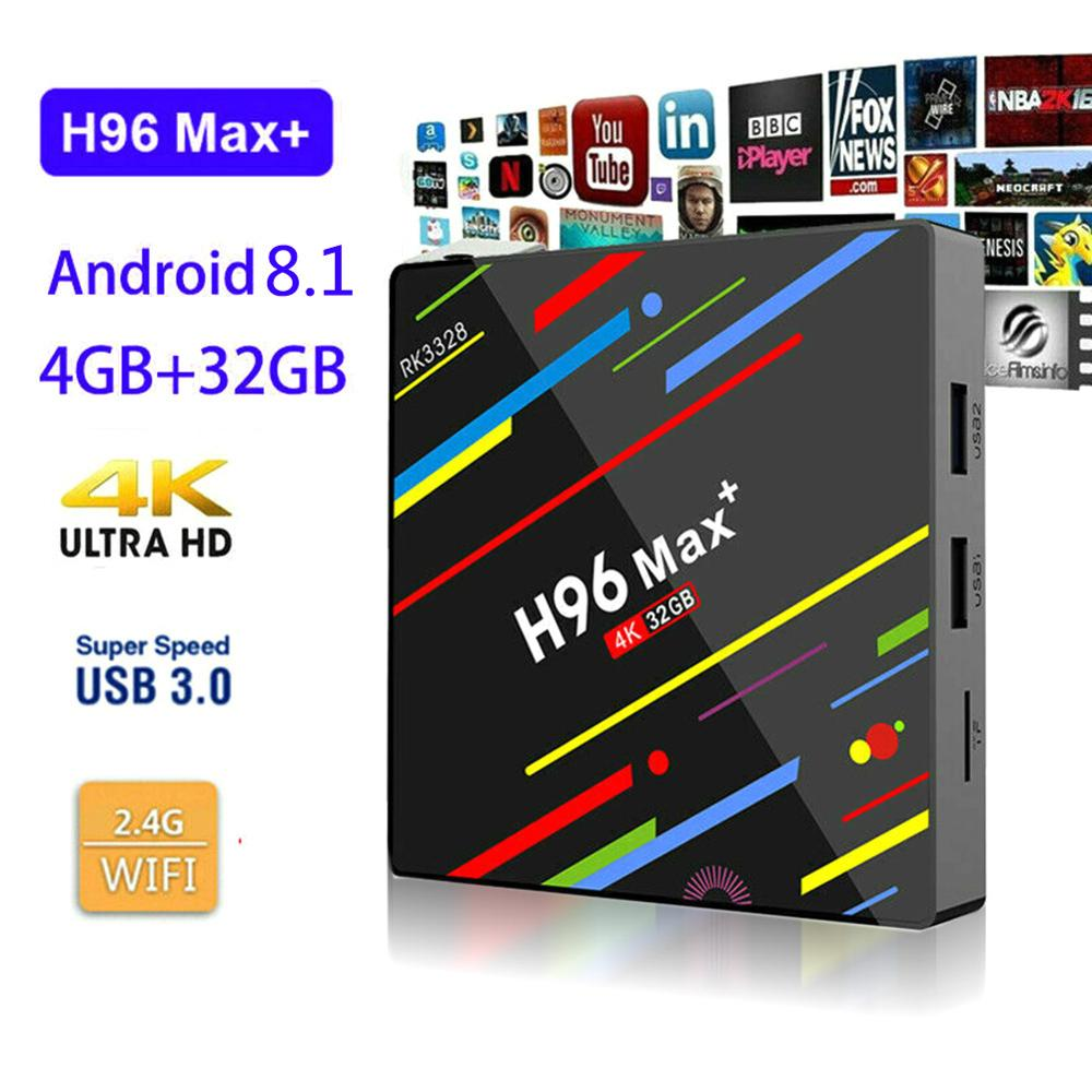 4K H.265 Smart WiFi TV Box H96 MAX Plus Android 9.0 TVBox 4GB Ram 32 GB/64 GB Rom Rockchip RK3328 USB3.0 2.4Ghz IP TV décodeur