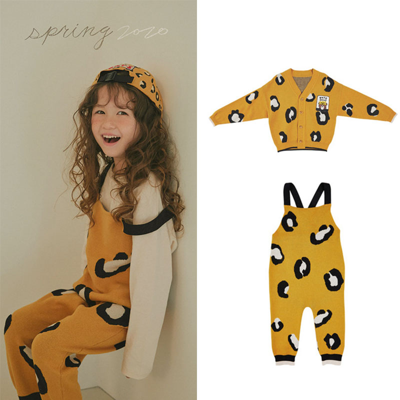 Kids Sweater Girl Leopard Clothes Overall Boys Coat Matching Children Korean Brand New Autumn Winter Clothes Knitted Overalls 4