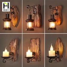 American Retro Industrial Style Loft Solid Wood Creative Personality Antique Bar Cafe Restaurant Balsa Boat Wood Aisle Wall Lamp