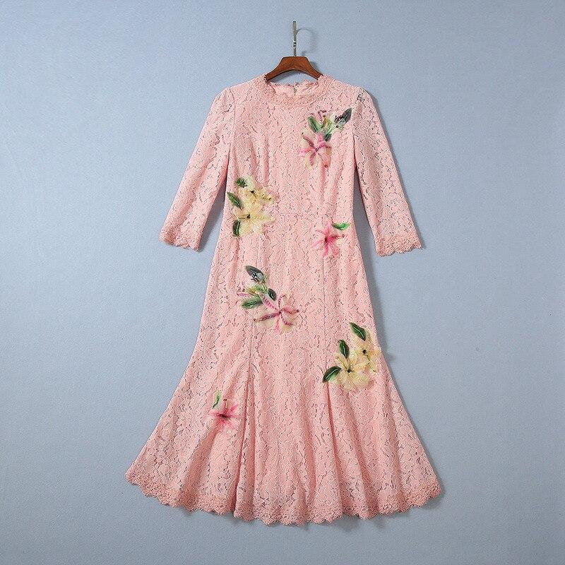 Осень 2019 Новая Европейская и американская женская одежда рубашка с рукавом в 7 цветах, наклейте ткань с цветочным узором модное кружевное платье с юбкой годе - 2
