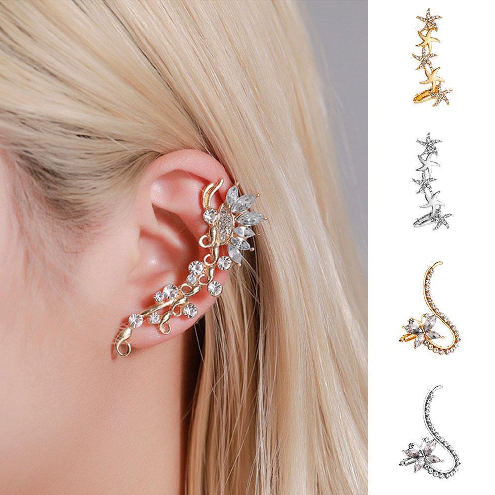 One Pieces Women Earring Ear Clip Jewelry Alloy Geometric Crystal Single Drop Earrings For Woman Jewelry Boho Office Gifts