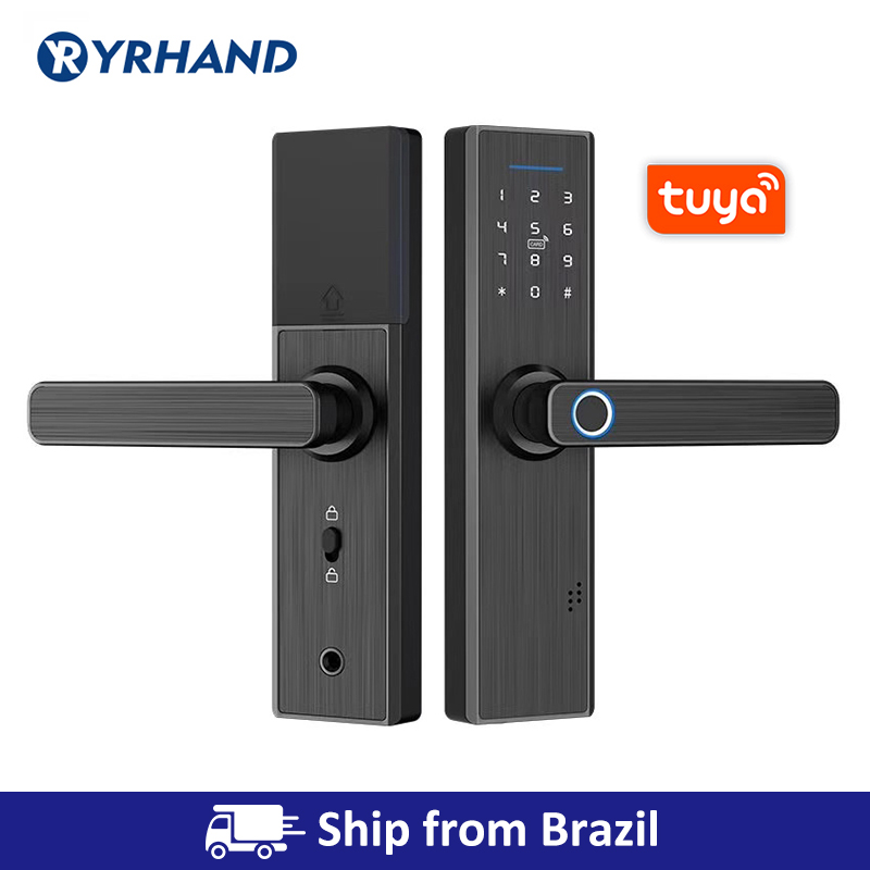 Wifi fechadura da porta eletrônica com tuya app remotamente/biométrico de impressão digital/cartão inteligente/senha/chave desbloquear navio do brasil