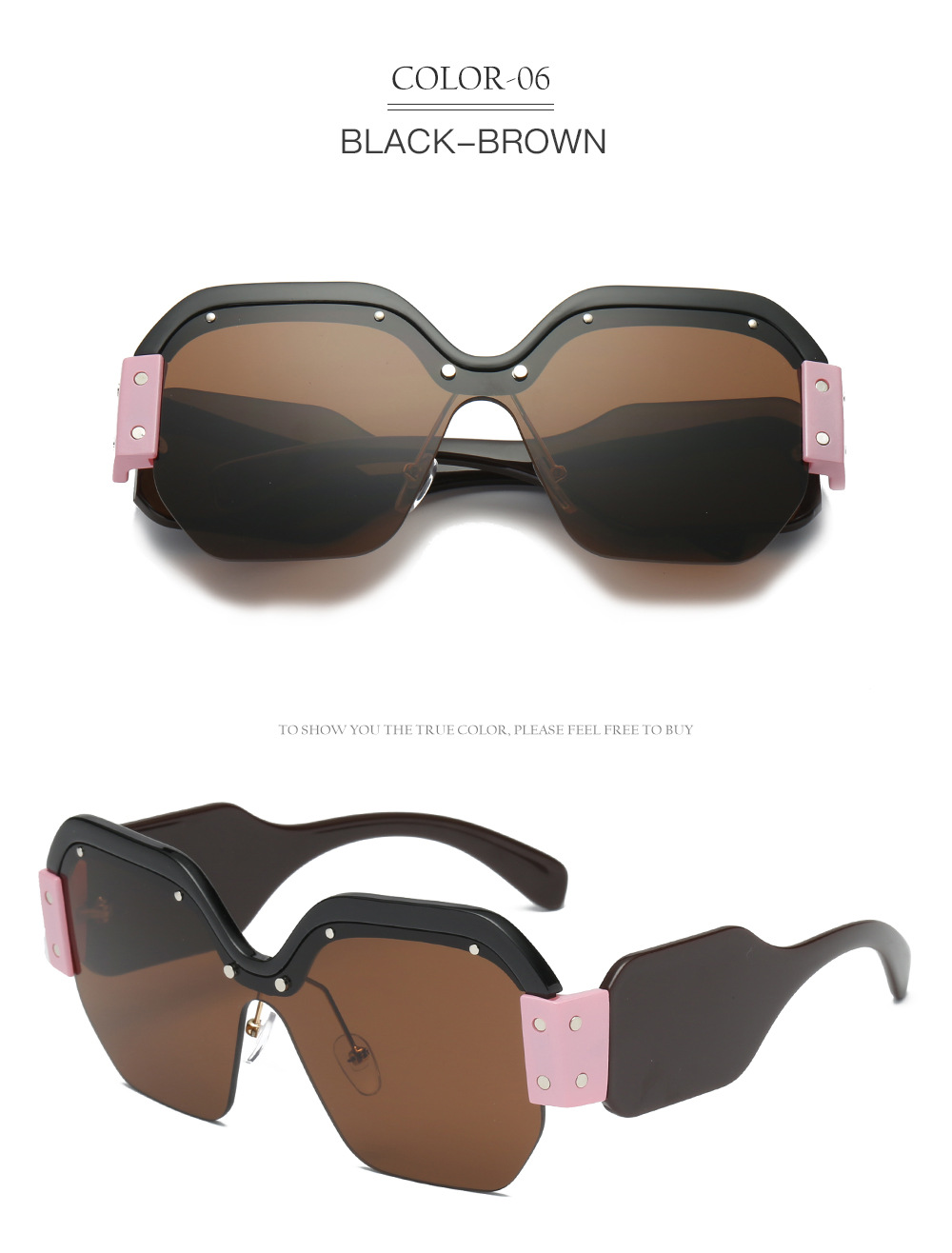 Hfaa195b9ed0f42b78a6efcc52b53c318y - Sexy Rimless Oversized Sunglasses Women Vintage Red Pink Luxury Brand Sun Glasses For Female Rivet Big Frame Male Shades