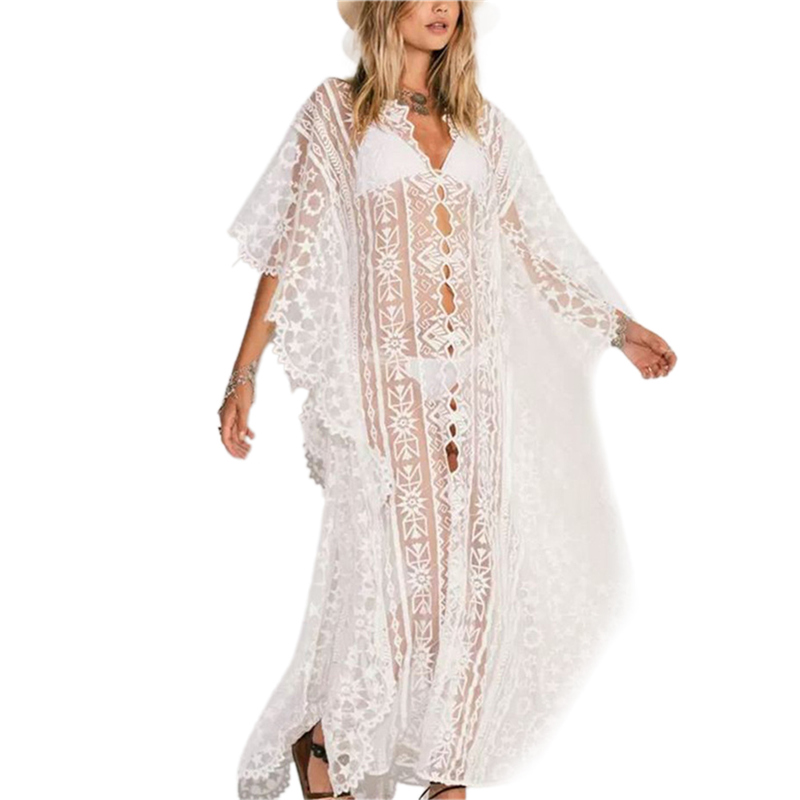 <font><b>Hot</b></font> Ladies <font><b>Summer</b></font> Sunscreen Wear Lace Hollow Beach Dress <font><b>Women</b></font> Bathing Suit <font><b>Bikini</b></font> Cover Up <font><b>Sexy</b></font> Swimwear image