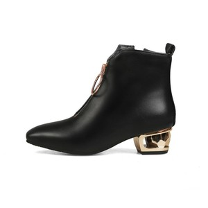 Image 5 - Women Boots Autumn Winter Med Heel Warm Pu Square Toe Zip Ankle Chelsea Martin Shoe 2018 New Sexy Fashion Casual Black Brown