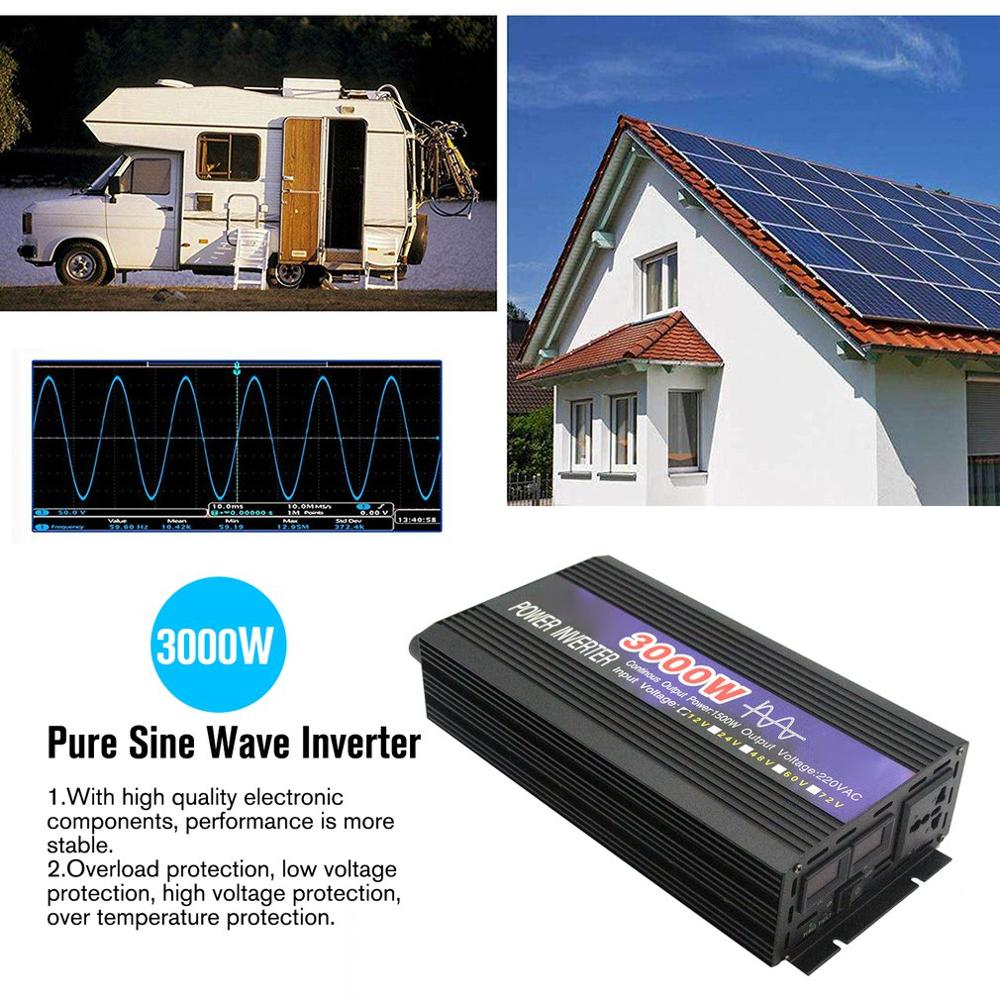 3000 w onda senoidal pura inteligente inversor de corda dupla display digital potência do inversor conversor carro adaptador com ventilador duplo - 4