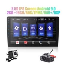 Radio con GPS para coche, radio con Android 9,0, 2 din, DSP de 9 /10, pantalla IPS 2.5D, navegación GPS, WIFI, Bluetooth, reproductor MP5, cámara frontal y trasera