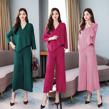 Pink 2 Piece Set Outfits For Women Plus Size Loose Wide Pant Suit And Top Winter Autumn Clothing Matching Co-ord Irregular Sets orange plus size 2 piece set women pant and top outfit tracksuit sportswear fitness co ord set 2019 summer large big clothing