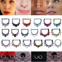 Piercing de nariz, 16g piercing de cristal de aço, septo, estilos de mistura, anéis de nariz, joia de ouro feminina, piercing daith helix tragus