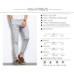 Image 4 - BROWON Autumn Men Fashions Solid Color Casual Pants Men Straight Slight Elastic Ankle Length High Quality Formal Trousers Men