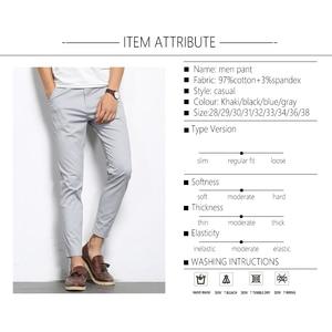 Image 4 - BROWON סתיו אופנת גברים מוצק צבע מכנסי קזואל גברים ישר קל אלסטי קרסול אורך רשמית באיכות גבוהה מכנסיים גברים