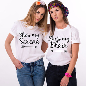 She's my Serena, She's my Blair Bff T Shirt Casual Tee Shirt Femme White Black Cute Harajuku Hipster Women Tops Students Cotton