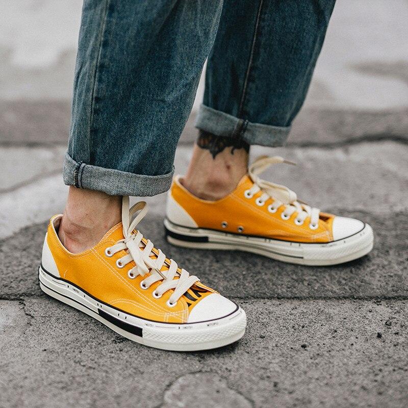 Jaune chaussures décontractées hommes coton toile chaussures à lacets hommes chaussures de marche nouveau Plimsolls chaussures pour homme été respirant baskets hommes - 3