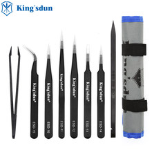 KING'SDUN 8Pcs Anti-static Tweezers ESD Stainless Steel Tweezers Set Industrial Precision Curved Straight Tweezer Repair Tools