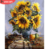 HUACAN Paint By Number Flower Drawing On Canvas Hand Painted Painting Art Gift DIY Pictures By Numbers Sunflower Kits Home Decor