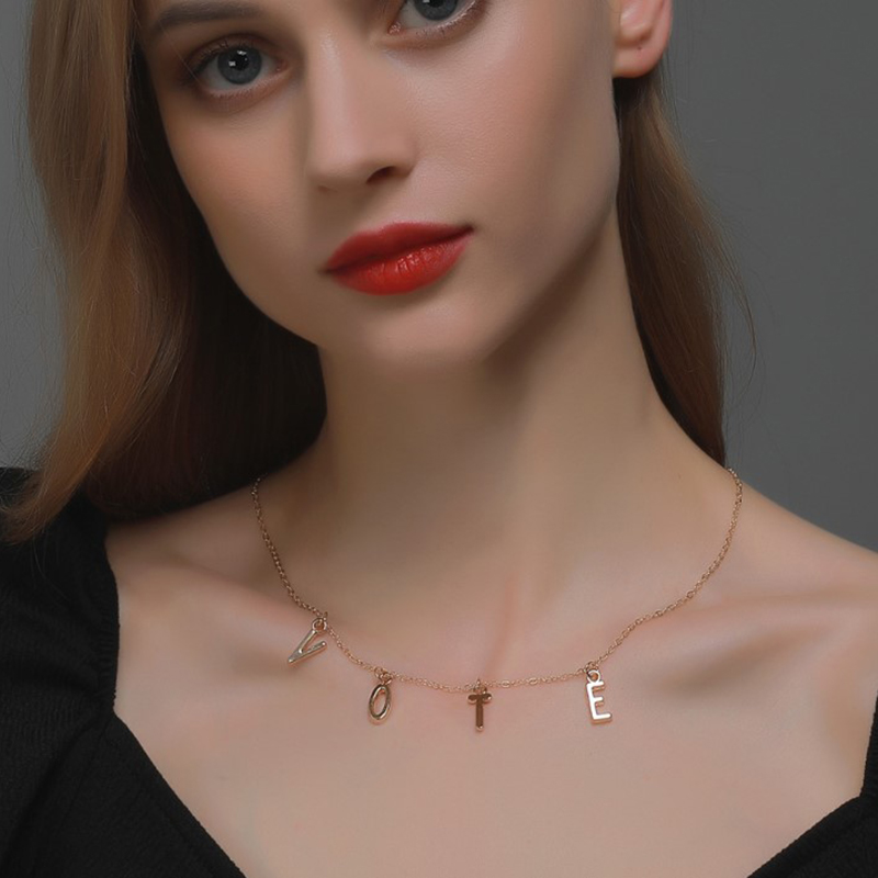 Women Stainless Steel VOTE Necklace Gold Color Letter Choker Necklaces Jewelry
