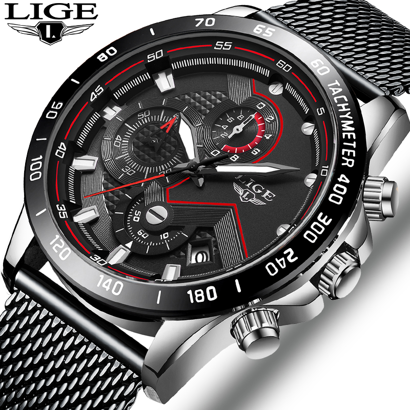 LIGE Casual Mens Watches Top Brand Sports Chronograph Quartz Watch Men Stainless Steel Mesh belt Waterproof Wristwatch Relojes