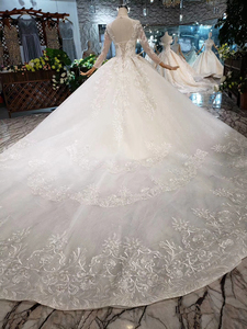Image 2 - BGW HT569 Ball Gown Wedding Dresses Organza Illusion O neck Long Tulle Sleeves Corset Wedding Gown With Long Train 2020 Fashion
