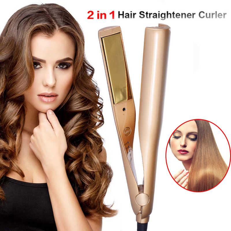 2 in 1 Hair Curler Straightening Machine Styling Professional Titanium Electric Hair Straighteners Roller Styler Curler Tools