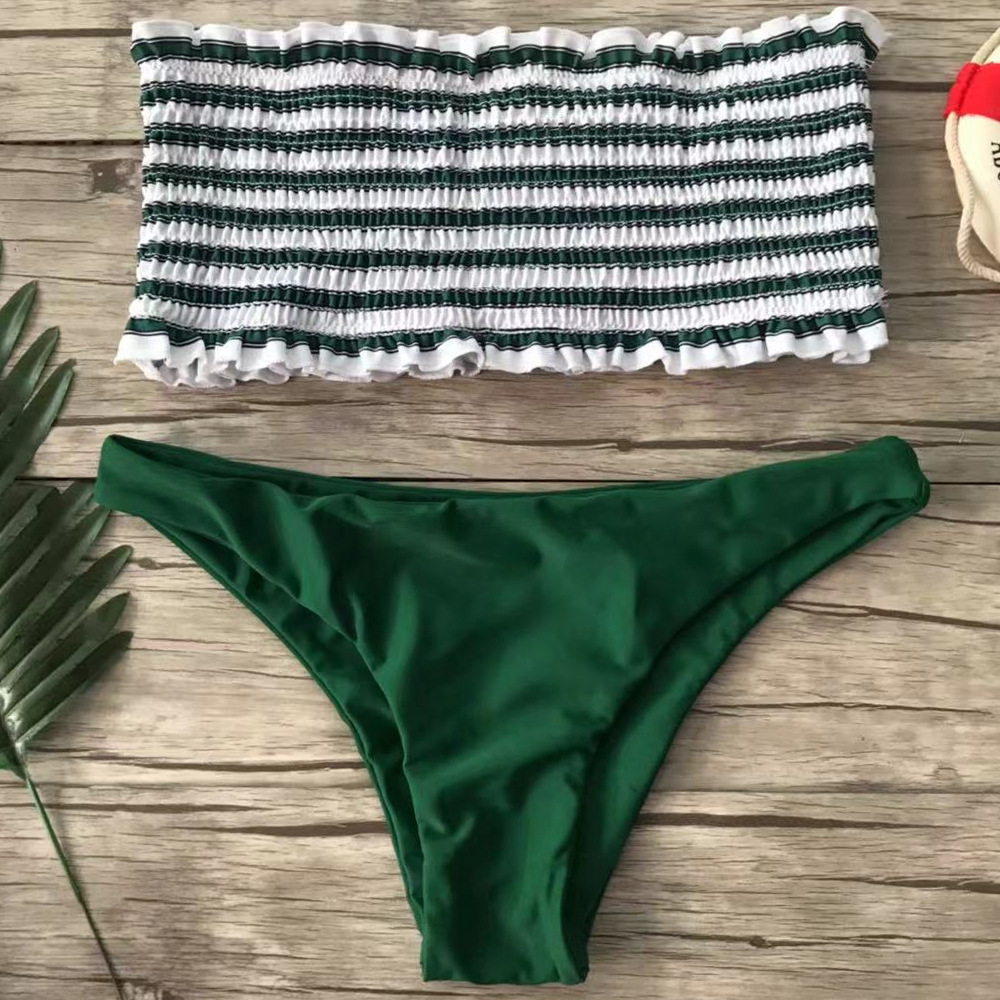 Bandeau Bikinis Set Sexy Bathing Suit Female Shirring Stripe Ruffle Strapless Swimwear Women Swimsuit Two Piece Bikini For Girls
