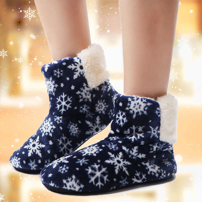נשים חורף קרסול מגפי חם מקורה רצפת נעלי גבירותיי פרווה פתית שלג שלג בית מגפי Contton הנעל נגד החלקה Botas feminina