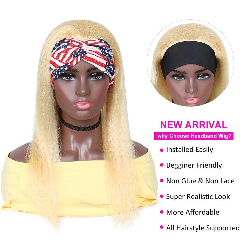 Yyong 28 30inch 613# Headband  Wigs  Honey Blond   Straight Headband Wigs Can be Colored 2
