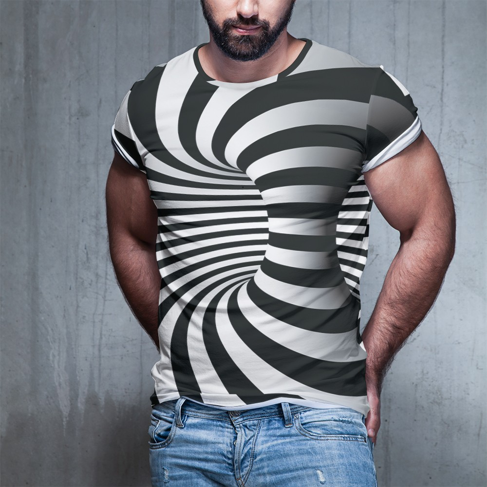 Summer New European And American Fashion 3d T Shirt Small Grid Square Vortex Dazzled  Printed Men Women Large T Shirt