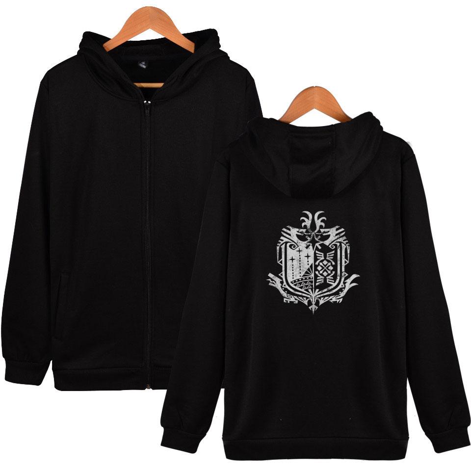 Monster Hunter World Zipper Hoodies Fleece Hoodie Sweatshirt Winter Hip Hop Streetwear Jacket Coat Clothes Men/women Long Sleeve