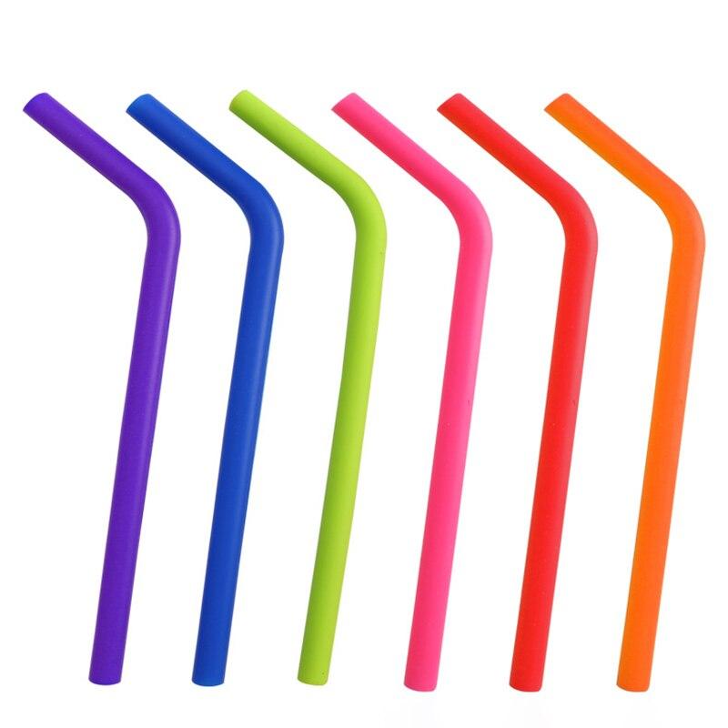 Pailles réutilisables en Silicone, pailles souples de grande taille-6 pièces