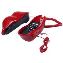 Сексуальный телефон с красным ртом с дизайном помады от домашнего телефонного кабеля