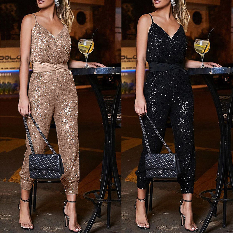 2020 New Elegant Women Party Black Jumpsuits Sexy Sequin Strapless Backless Ladies V-neck Night Club Overalls Champagne Outfits