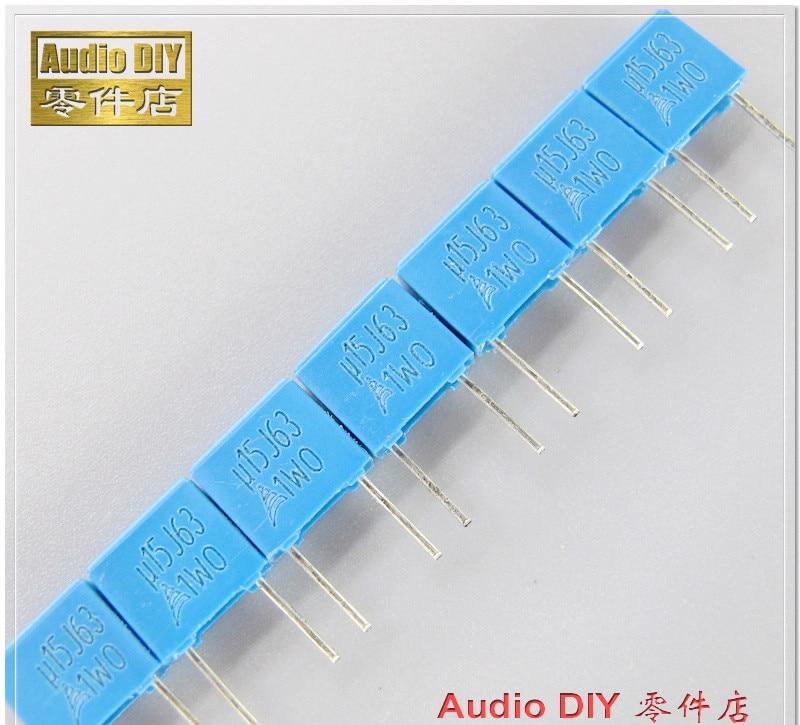 10pcs CBB Capacitors 630V 0.15uF 154J 150nF Polyester Film Capacitors Pitch 15mm
