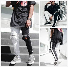Men's Jeans 2019 New Men's Casual Style Pants Slim Straight Jeans Trend Trousers Youth Running Sports Feet Pants цены онлайн