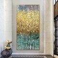 Абстрактный золотой Холст Картина Большой размер зеленый золотой плакаты печать современная роскошная Настенная картина куадро для гости...