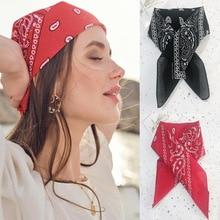 2021 Bohemian Women Print Bandana Hair Scarf Turban Headband Face Mask Girls Hair Tie Vintage Square Scarf Hair Accessories